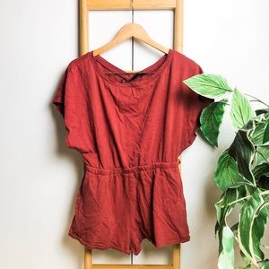 Out From Under Orange Open Back Romper w/ Pockets